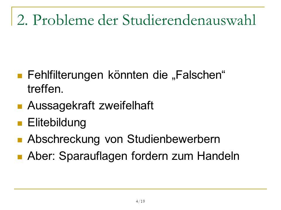 2. Probleme der Studierendenauswahl