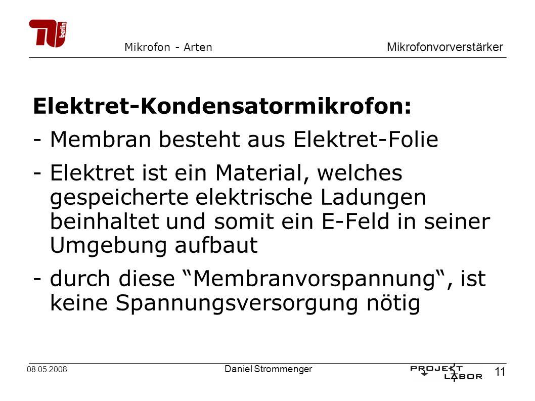 Elektret-Kondensatormikrofon: - Membran besteht aus Elektret-Folie
