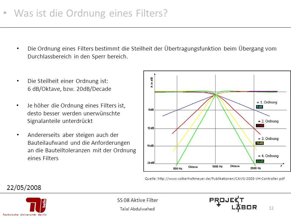 Was ist die Ordnung eines Filters