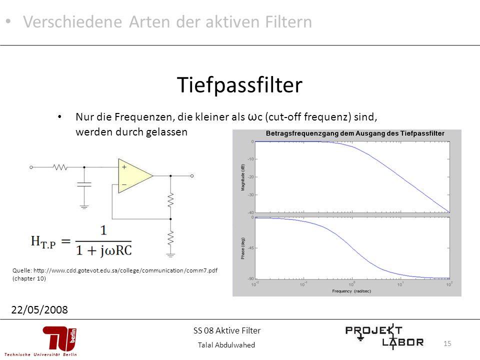 Tiefpassfilter Verschiedene Arten der aktiven Filtern