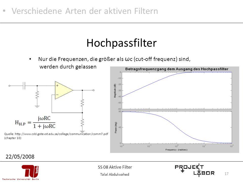 Hochpassfilter Verschiedene Arten der aktiven Filtern