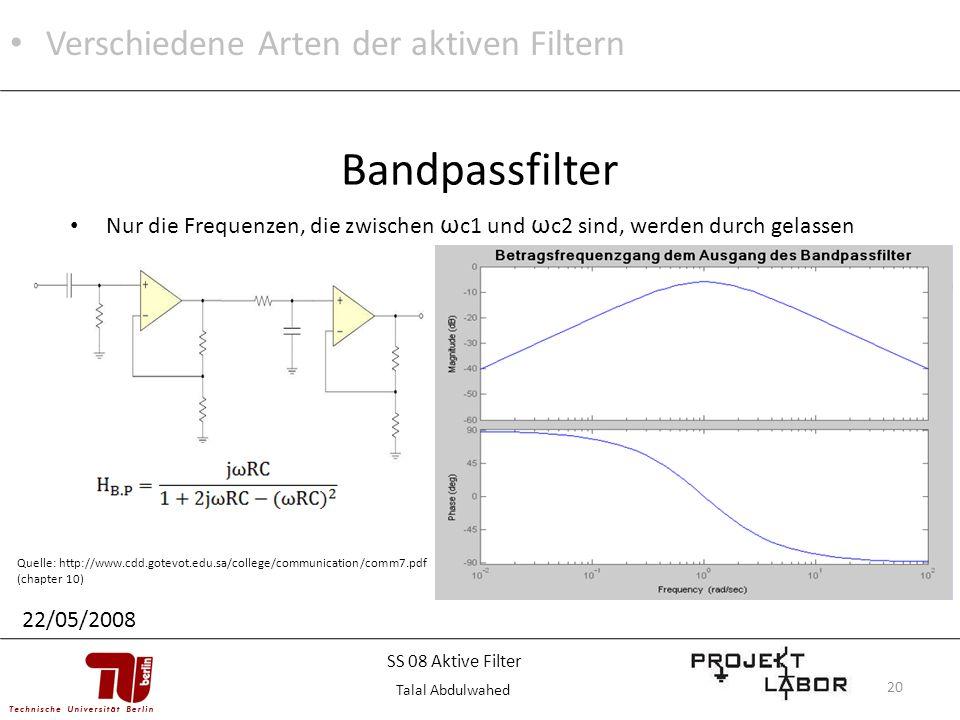 Bandpassfilter Verschiedene Arten der aktiven Filtern
