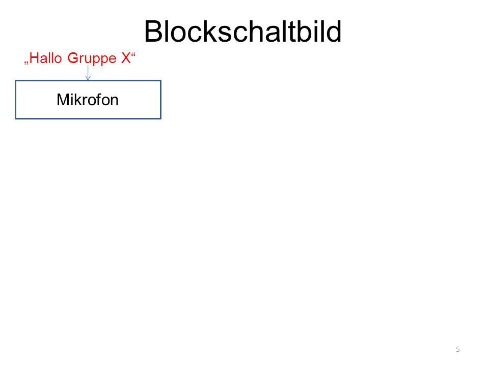 """Blockschaltbild Mikrofon """"Hallo Gruppe X"""