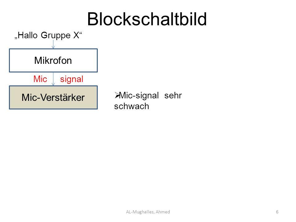 """Blockschaltbild Mikrofon Mic-Verstärker """"Hallo Gruppe X Mic signal"""