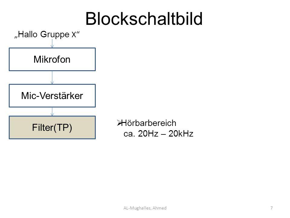 """Blockschaltbild Mikrofon Mic-Verstärker Filter(TP) """"Hallo Gruppe X"""