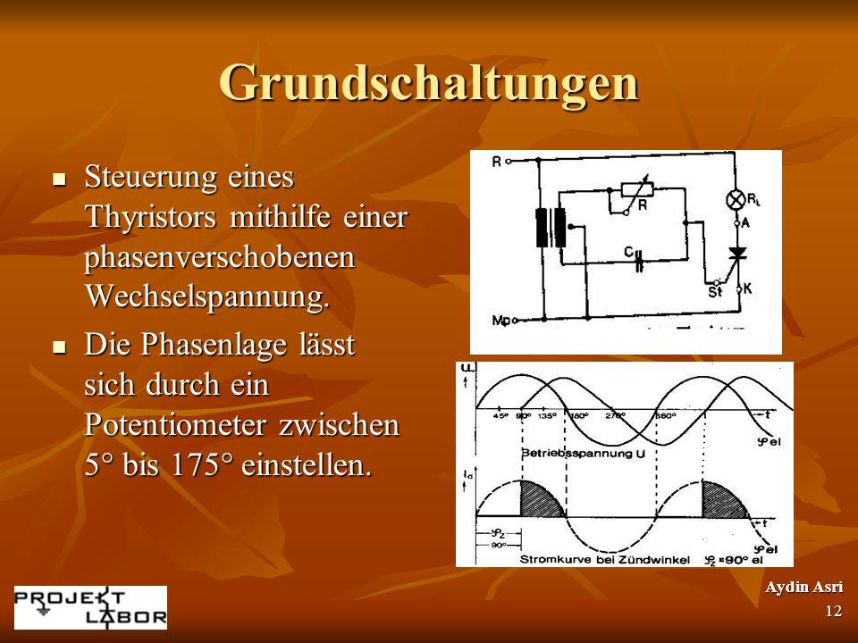 Grundschaltungen Steuerung eines Thyristors mithilfe einer phasenverschobenen Wechselspannung.