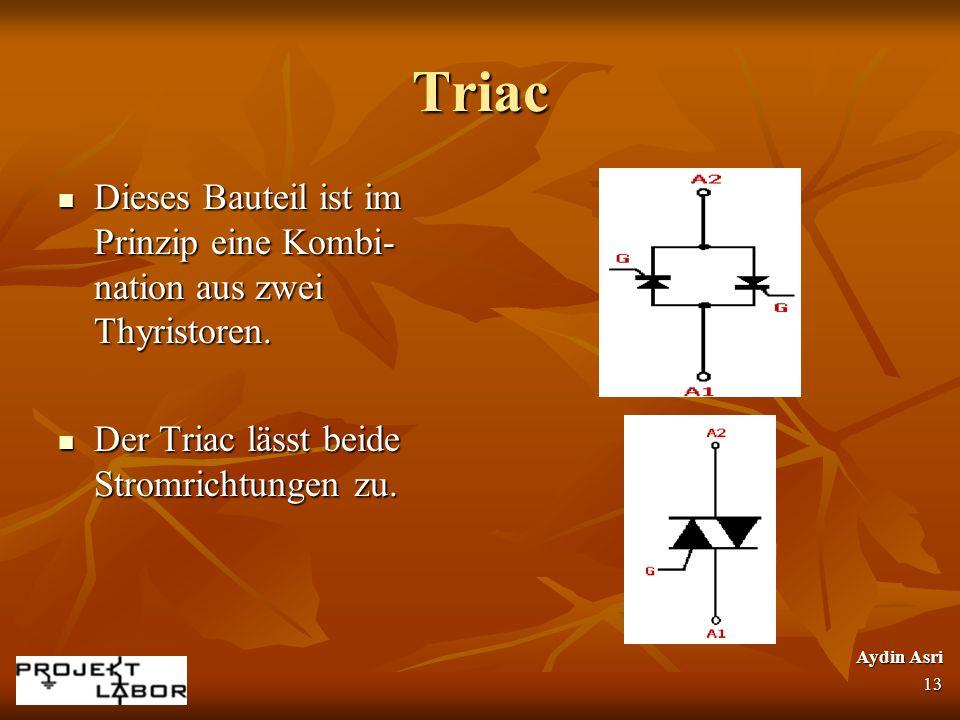 Triac Dieses Bauteil ist im Prinzip eine Kombi-nation aus zwei Thyristoren. Der Triac lässt beide Stromrichtungen zu.