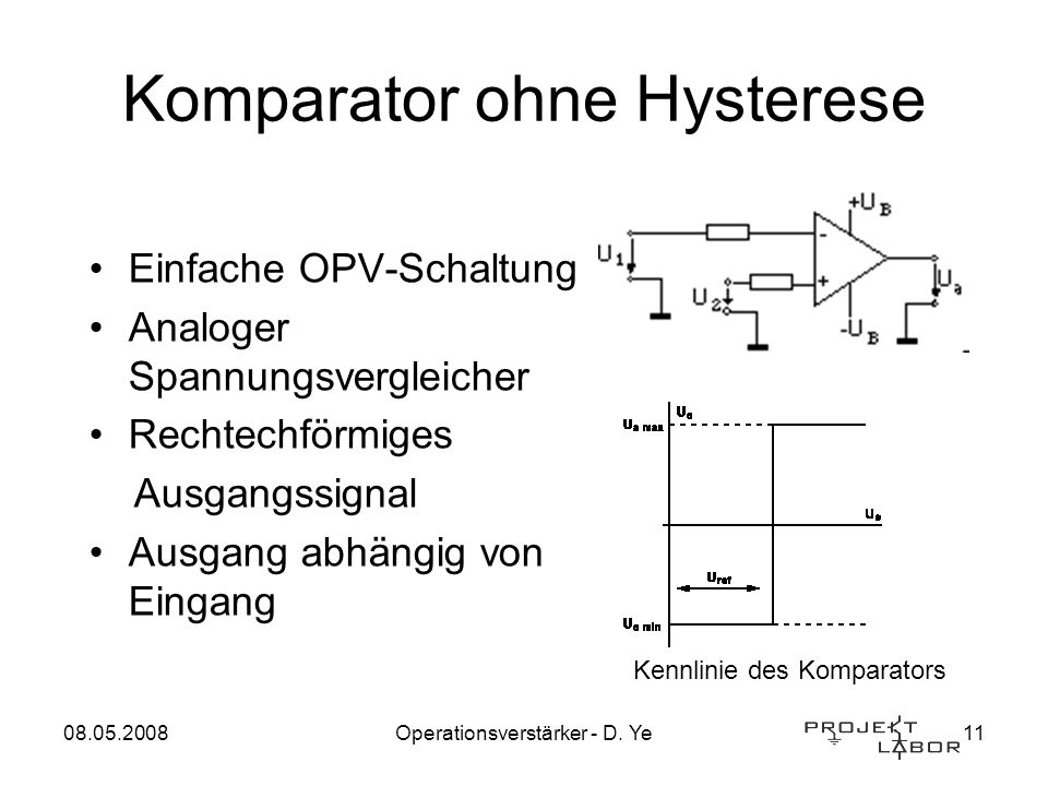Komparator ohne Hysterese