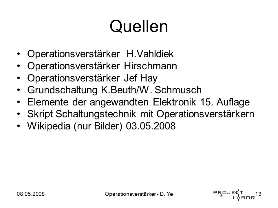 Operationsverstärker - D. Ye