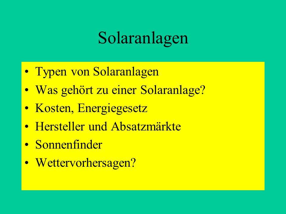 Solaranlagen Typen von Solaranlagen Was gehört zu einer Solaranlage