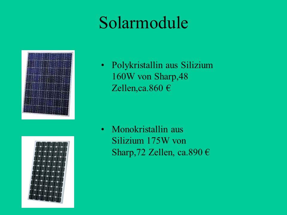 Solarmodule Polykristallin aus Silizium 160W von Sharp,48 Zellen,ca.860 € Monokristallin aus Silizium 175W von Sharp,72 Zellen, ca.890 €