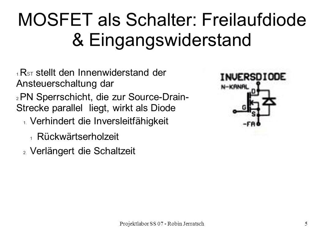 MOSFET als Schalter: Freilaufdiode & Eingangswiderstand