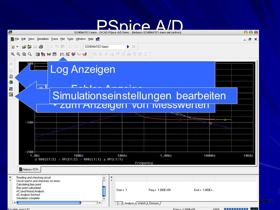 """PSpice A/D Log Anzeigen Fehler Anzeige """"Trace einfügen"""