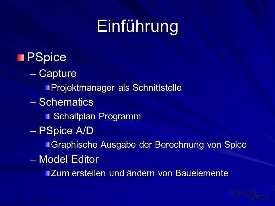 Einführung PSpice Capture Schematics PSpice A/D Model Editor