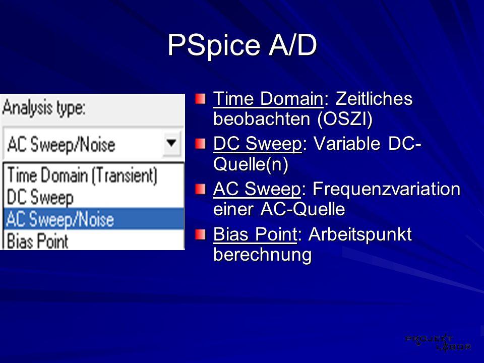 PSpice A/D Time Domain: Zeitliches beobachten (OSZI)
