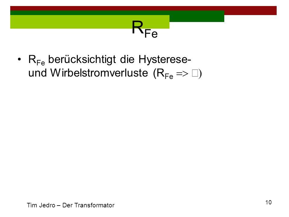 RFe RFe berücksichtigt die Hysterese- und Wirbelstromverluste (RFe => ¥) Tim Jedro – Der Transformator.