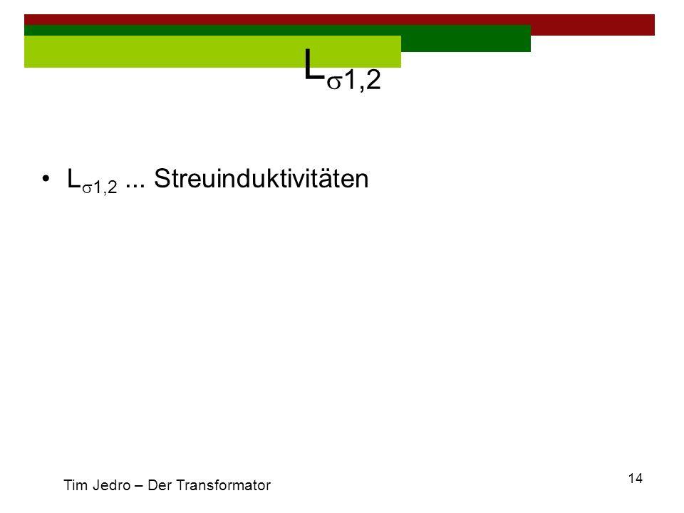 Ls1,2 Ls1,2 ... Streuinduktivitäten Tim Jedro – Der Transformator