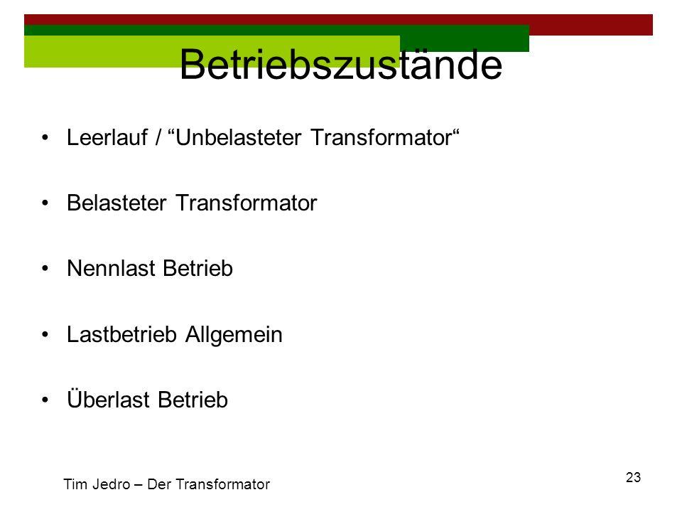 Betriebszustände Leerlauf / Unbelasteter Transformator