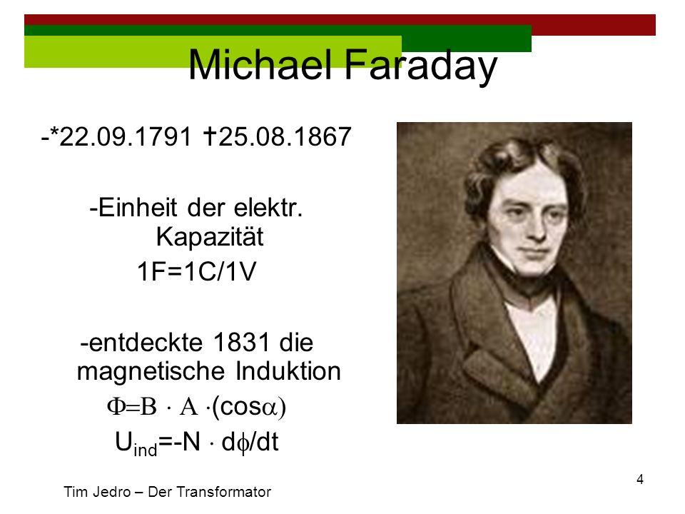 Michael Faraday -*22.09.1791 25.08.1867. -Einheit der elektr. Kapazität. 1F=1C/1V. -entdeckte 1831 die magnetische Induktion.