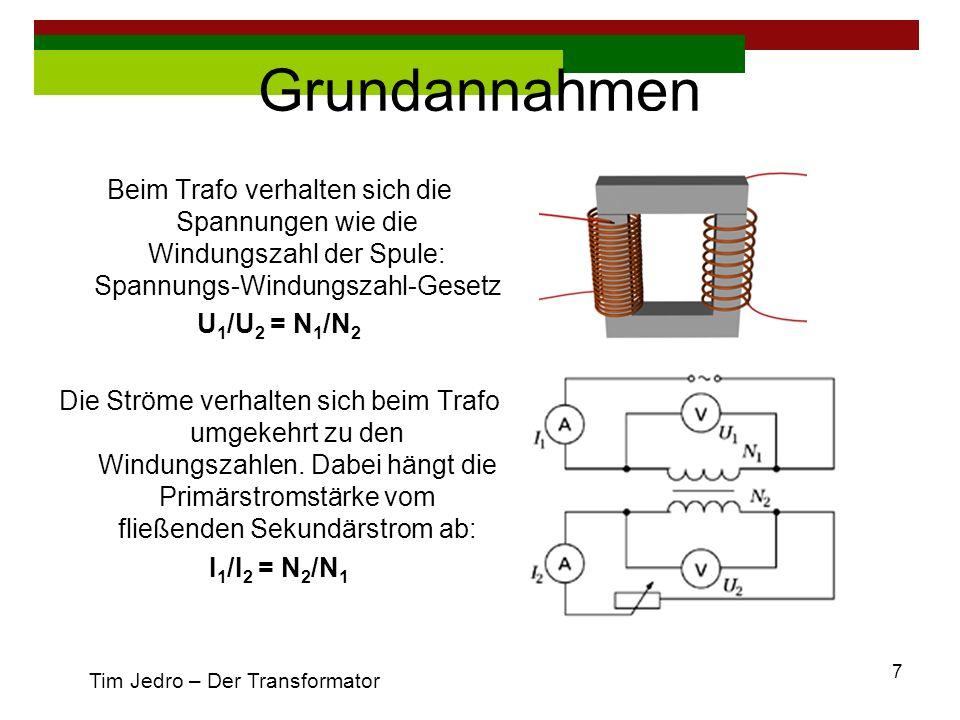 GrundannahmenBeim Trafo verhalten sich die Spannungen wie die Windungszahl der Spule: Spannungs-Windungszahl-Gesetz.