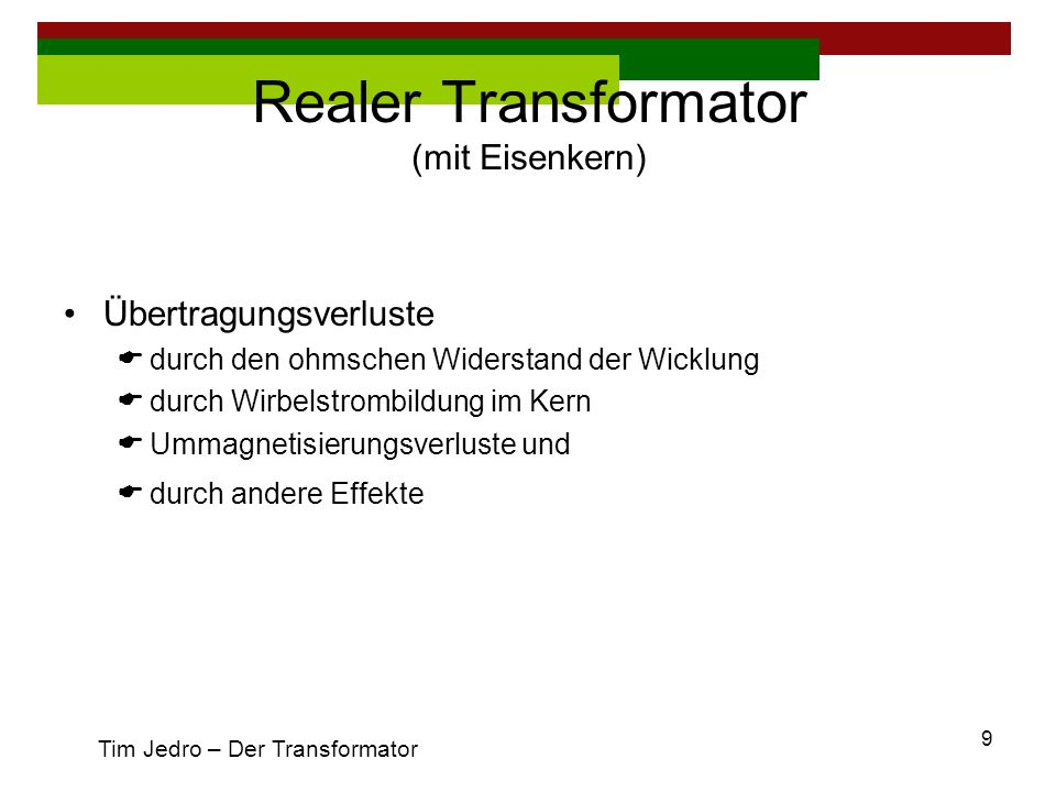 Realer Transformator (mit Eisenkern)