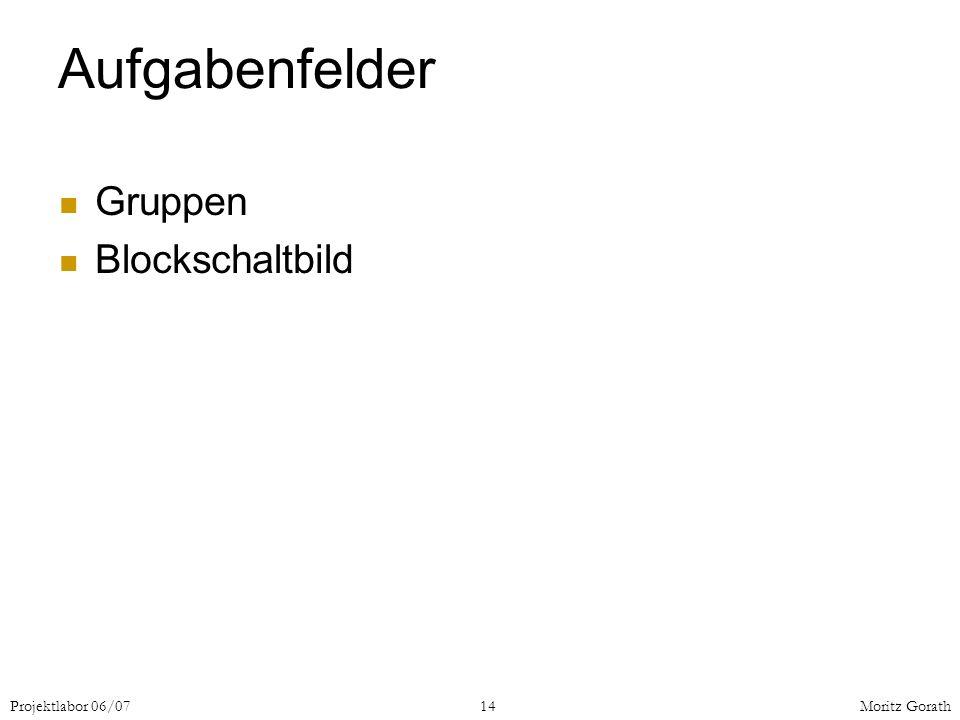 Aufgabenfelder Gruppen Blockschaltbild Projektlabor 06/07 14