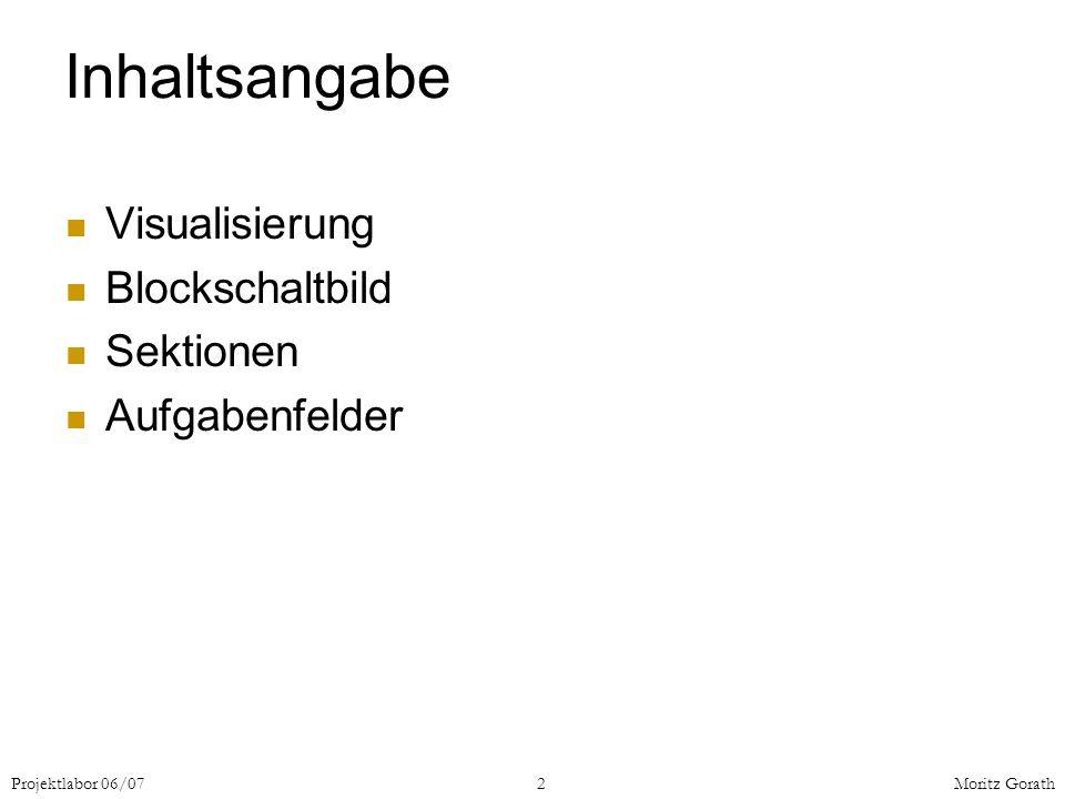 Inhaltsangabe Visualisierung Blockschaltbild Sektionen Aufgabenfelder
