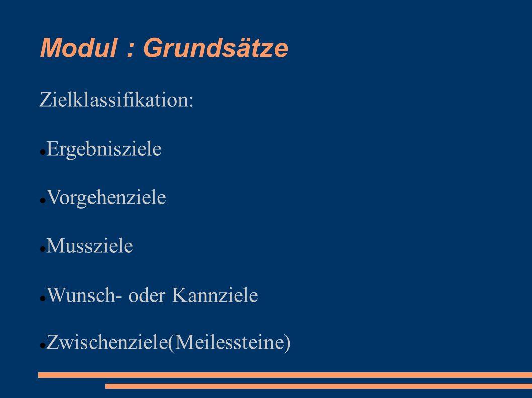Modul : Grundsätze Zielklassifikation: Ergebnisziele Vorgehenziele