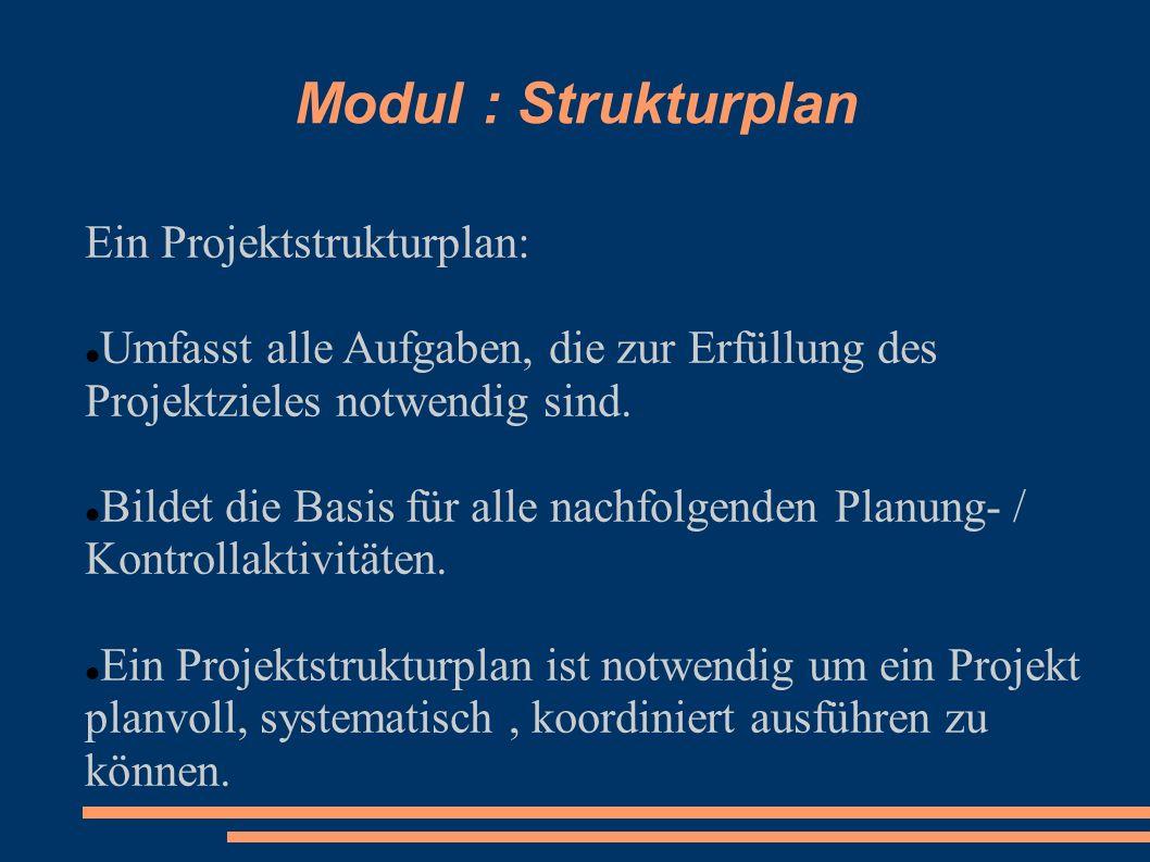 Modul : Strukturplan Ein Projektstrukturplan: