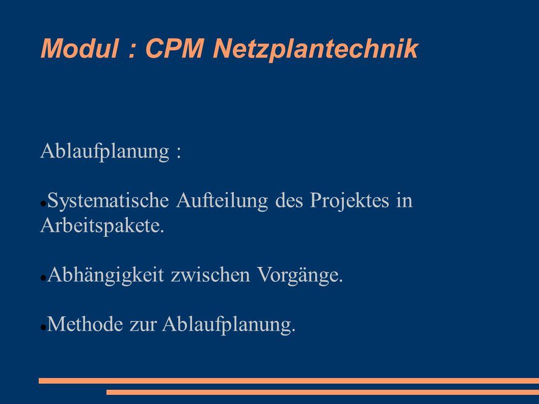 Modul : CPM Netzplantechnik