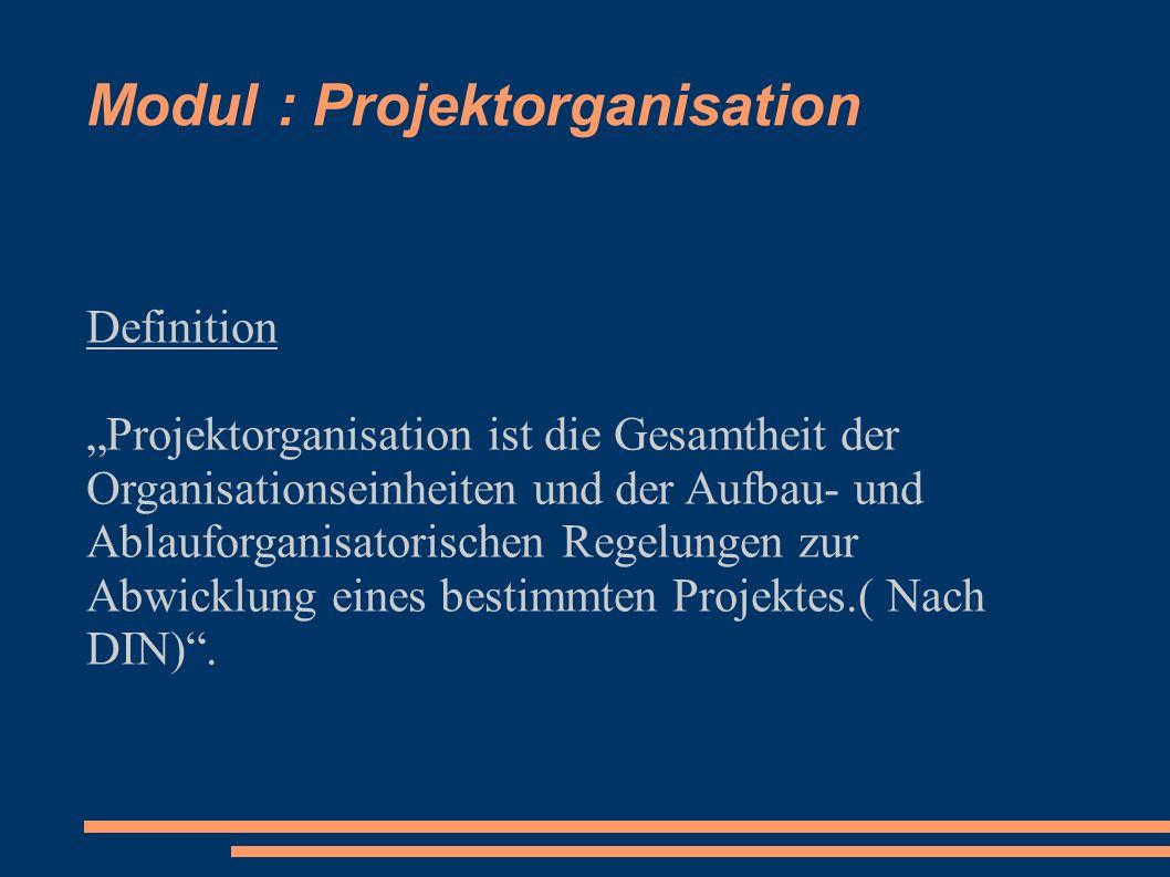 Modul : Projektorganisation