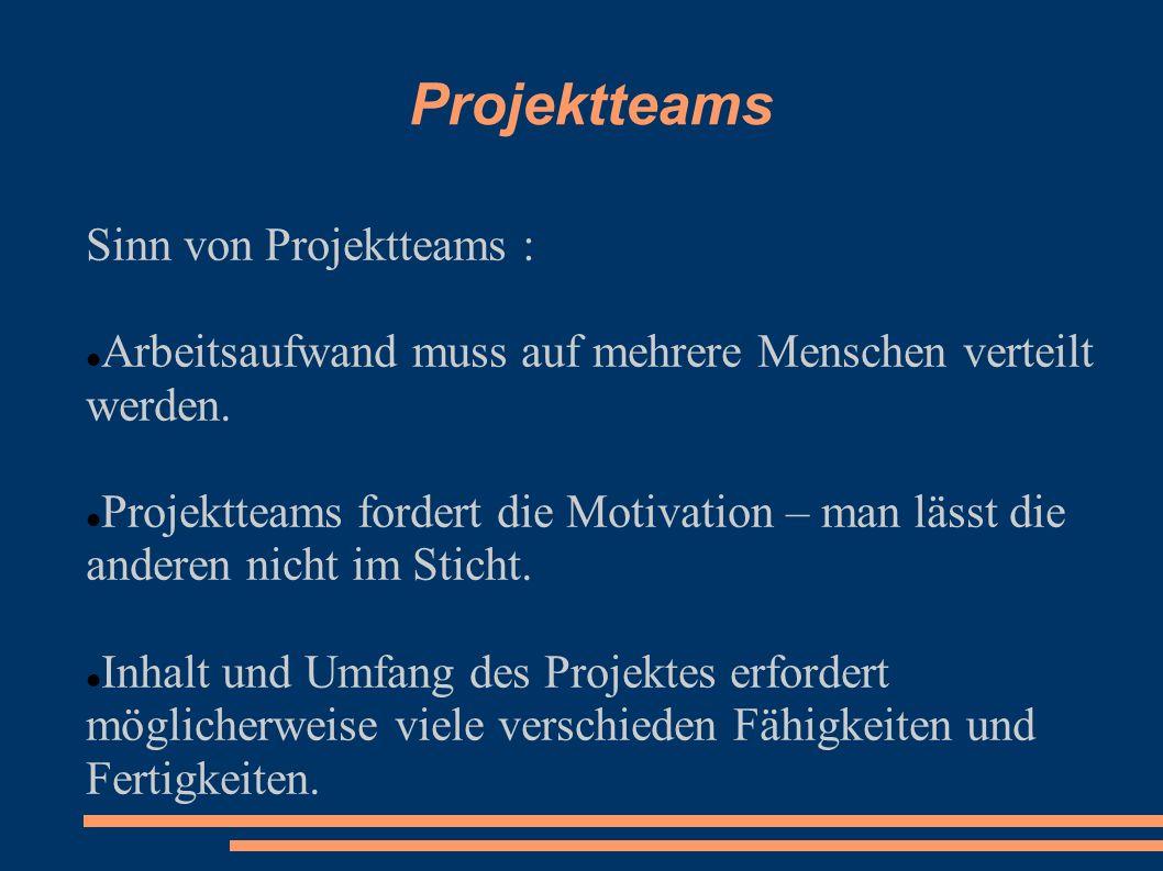 Projektteams Sinn von Projektteams :