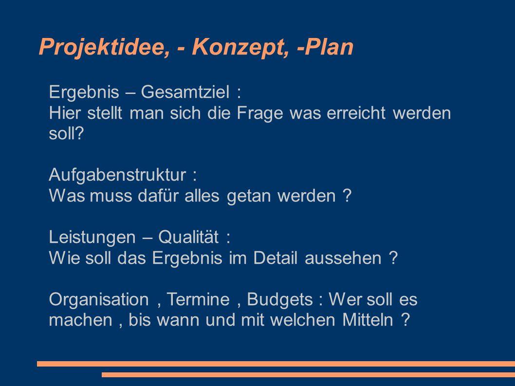 Projektidee, - Konzept, -Plan