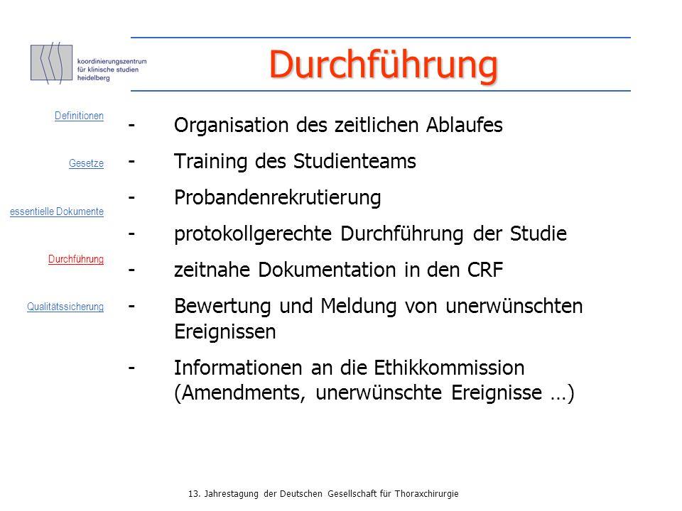 Durchführung - Organisation des zeitlichen Ablaufes