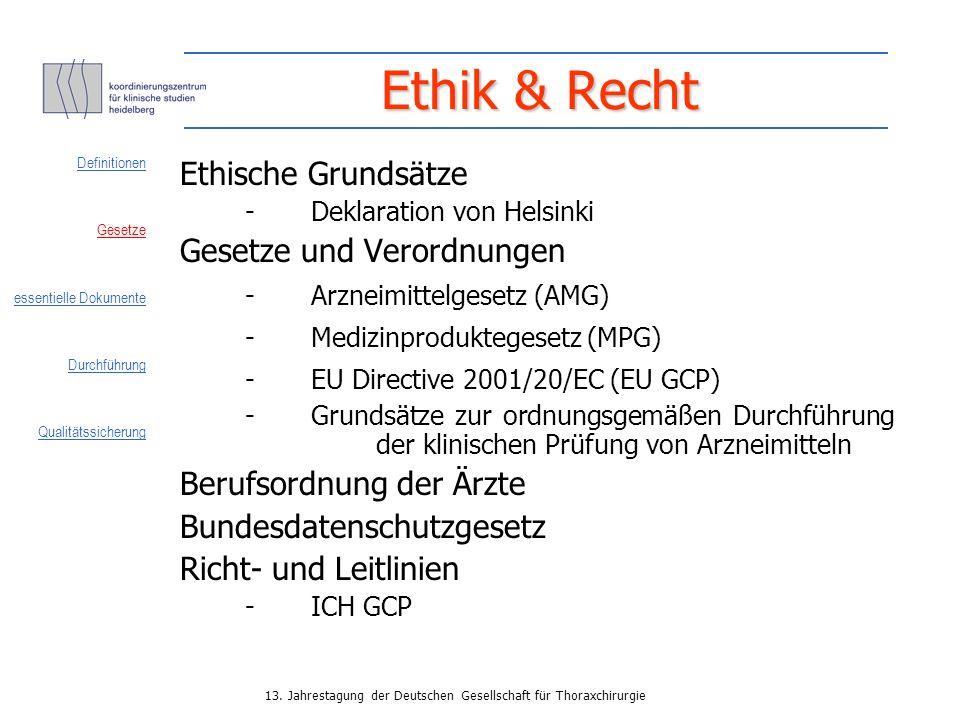 Ethik & Recht Ethische Grundsätze Gesetze und Verordnungen