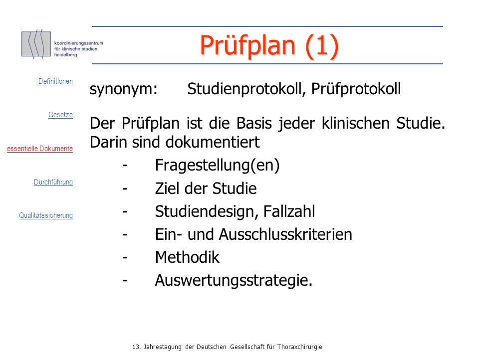Prüfplan (1) synonym: Studienprotokoll, Prüfprotokoll
