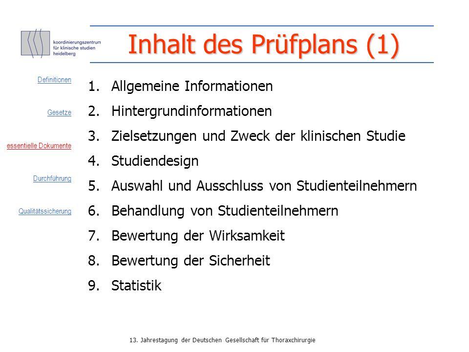 Inhalt des Prüfplans (1)