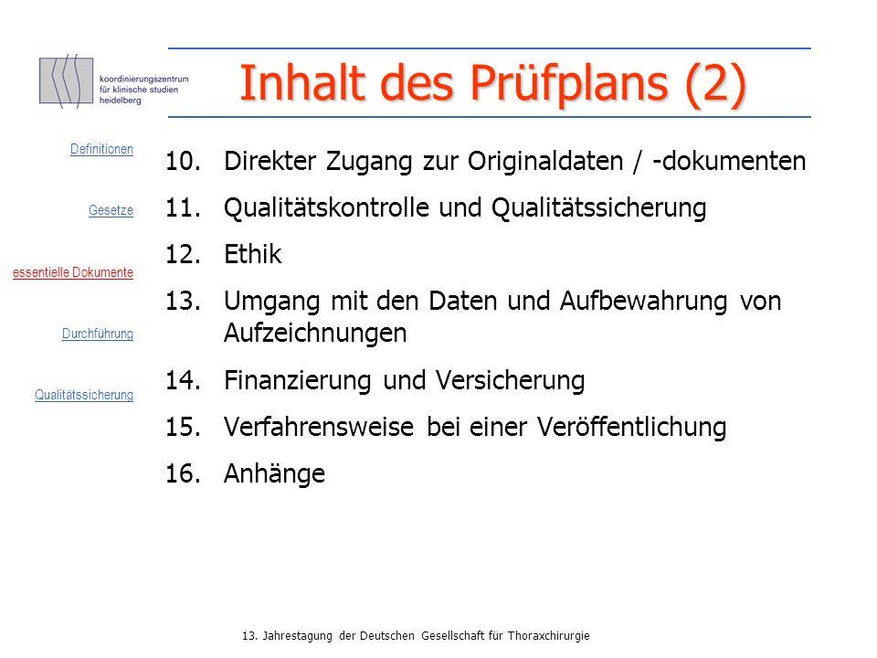 Inhalt des Prüfplans (2)