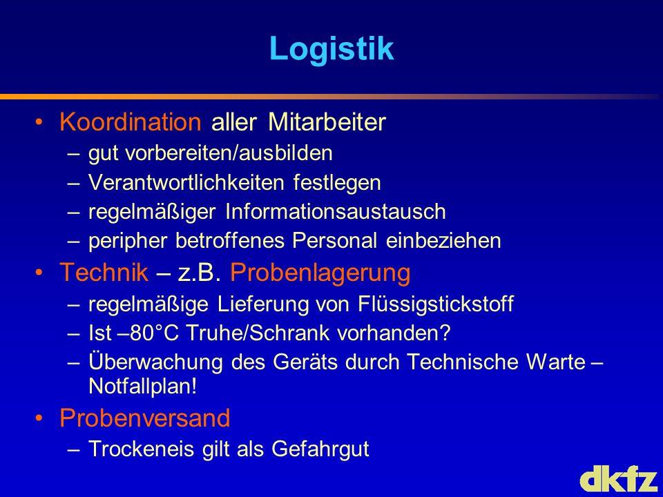 Logistik Koordination aller Mitarbeiter Technik – z.B. Probenlagerung