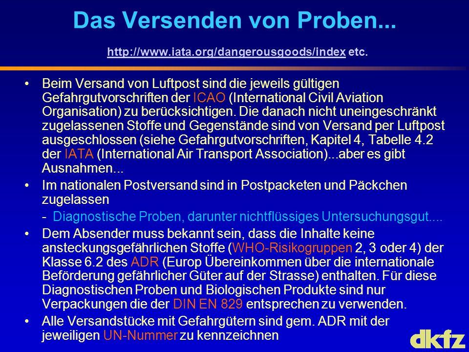 Das Versenden von Proben. http://www. iata