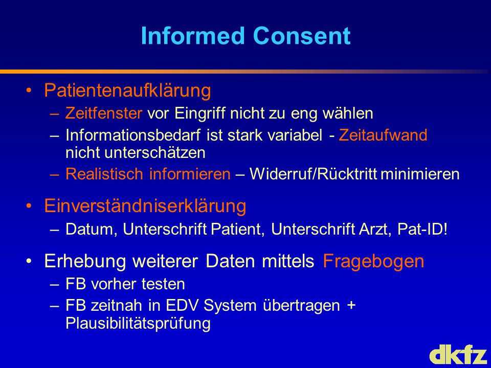 Informed Consent Patientenaufklärung Einverständniserklärung