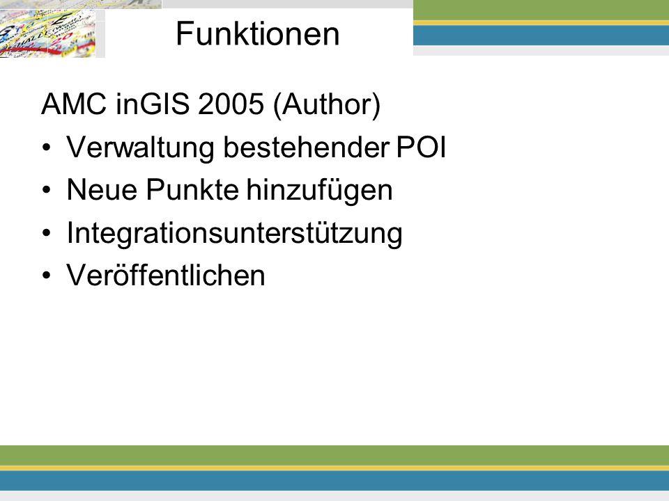 Funktionen AMC inGIS 2005 (Author) Verwaltung bestehender POI