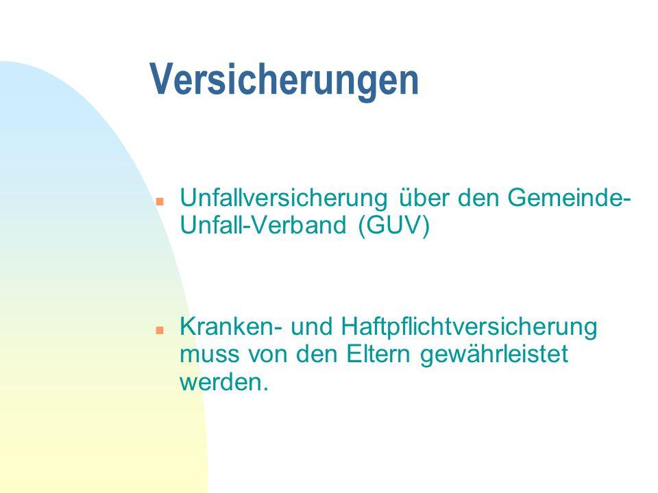 Versicherungen Unfallversicherung über den Gemeinde-Unfall-Verband (GUV)