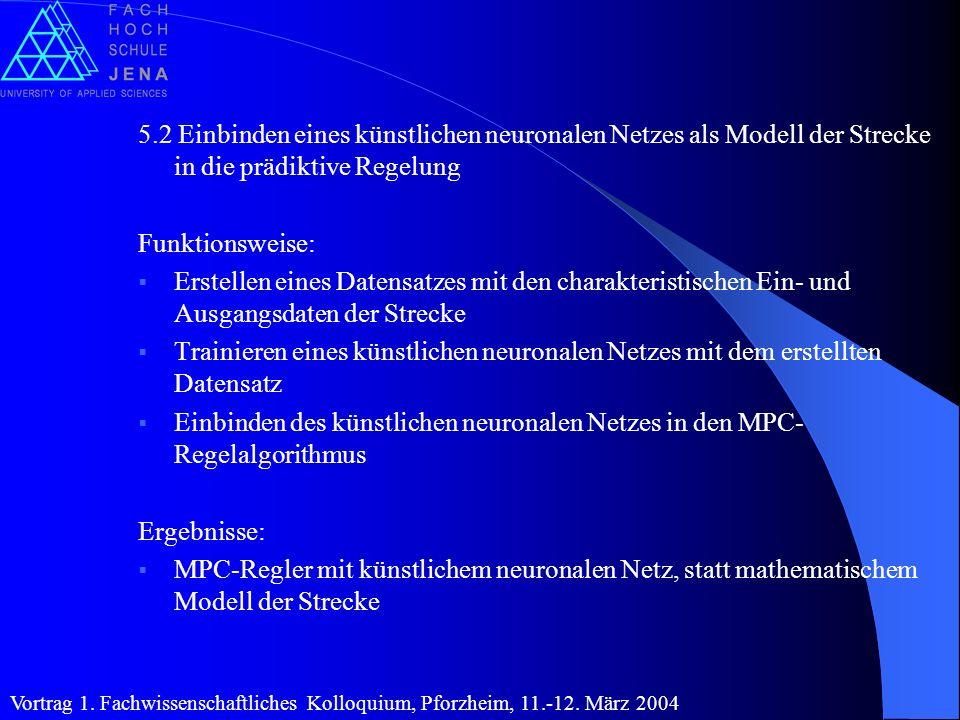 5.2 Einbinden eines künstlichen neuronalen Netzes als Modell der Strecke in die prädiktive Regelung