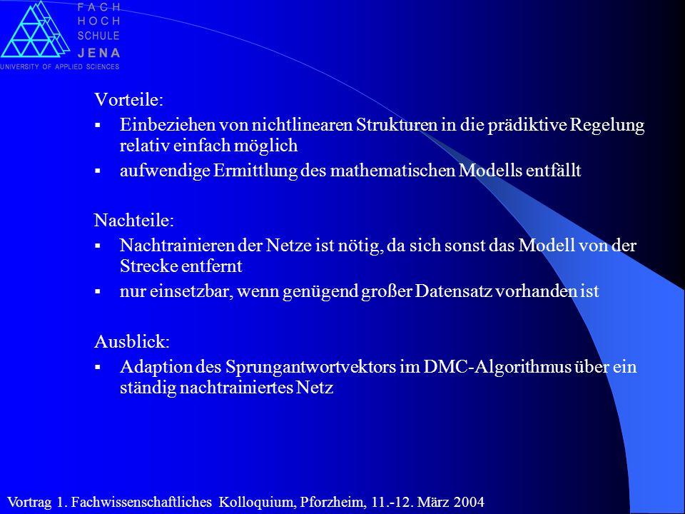 aufwendige Ermittlung des mathematischen Modells entfällt Nachteile: