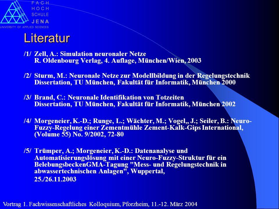 Literatur /1/ Zell, A.: Simulation neuronaler Netze R. Oldenbourg Verlag, 4. Auflage, München/Wien, 2003.