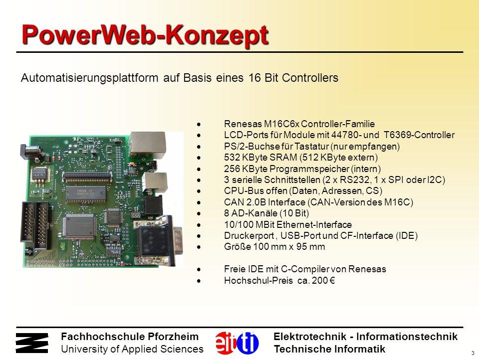 PowerWeb-Konzept Automatisierungsplattform auf Basis eines 16 Bit Controllers. · Renesas M16C6x Controller-Familie.