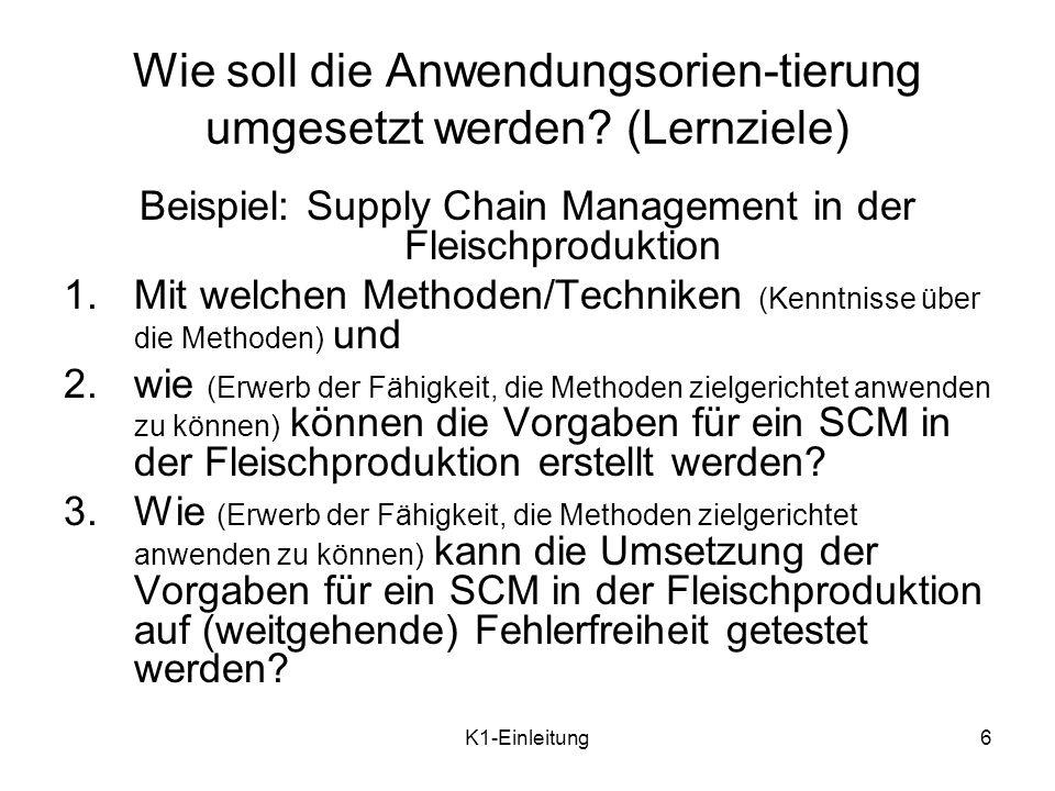 Wie soll die Anwendungsorien-tierung umgesetzt werden (Lernziele)