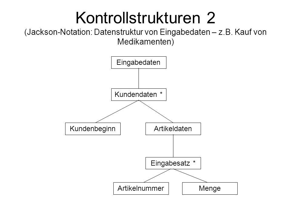 Kontrollstrukturen 2 (Jackson-Notation: Datenstruktur von Eingabedaten – z.B. Kauf von Medikamenten)
