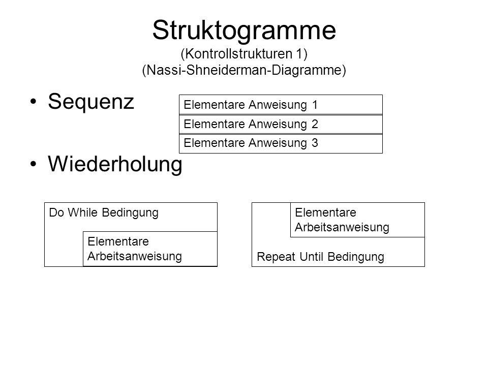 Struktogramme (Kontrollstrukturen 1) (Nassi-Shneiderman-Diagramme)
